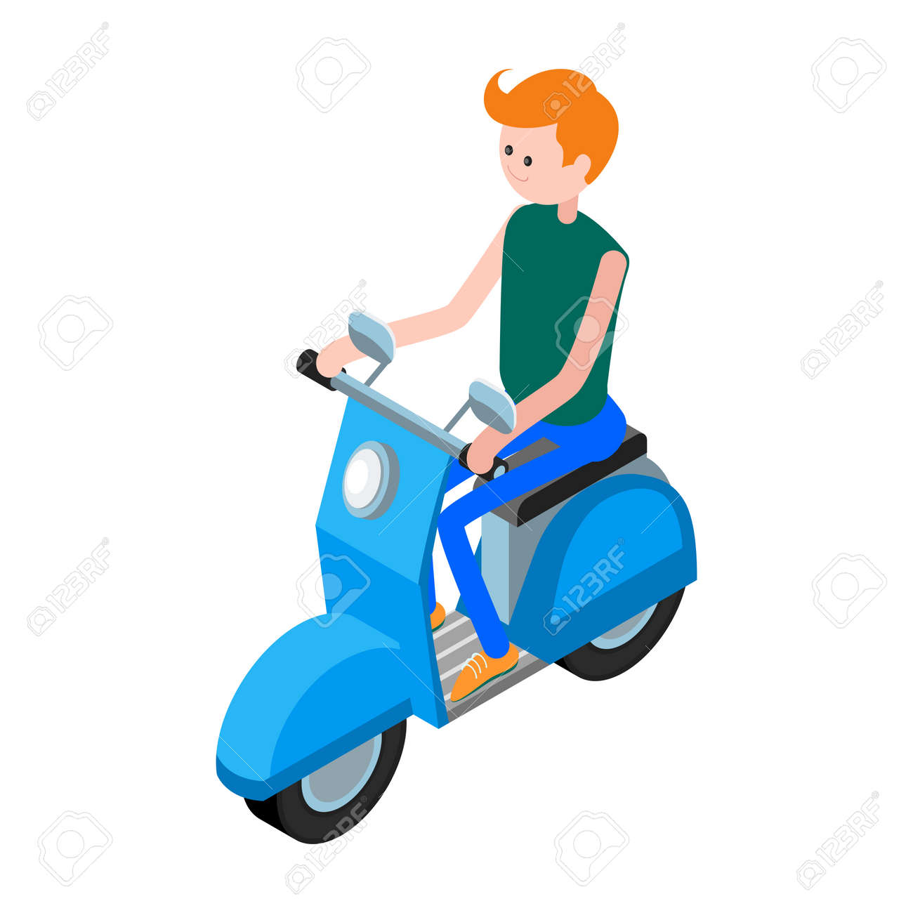 Isometric icon scooter with a driver  3d icon scooter isolated