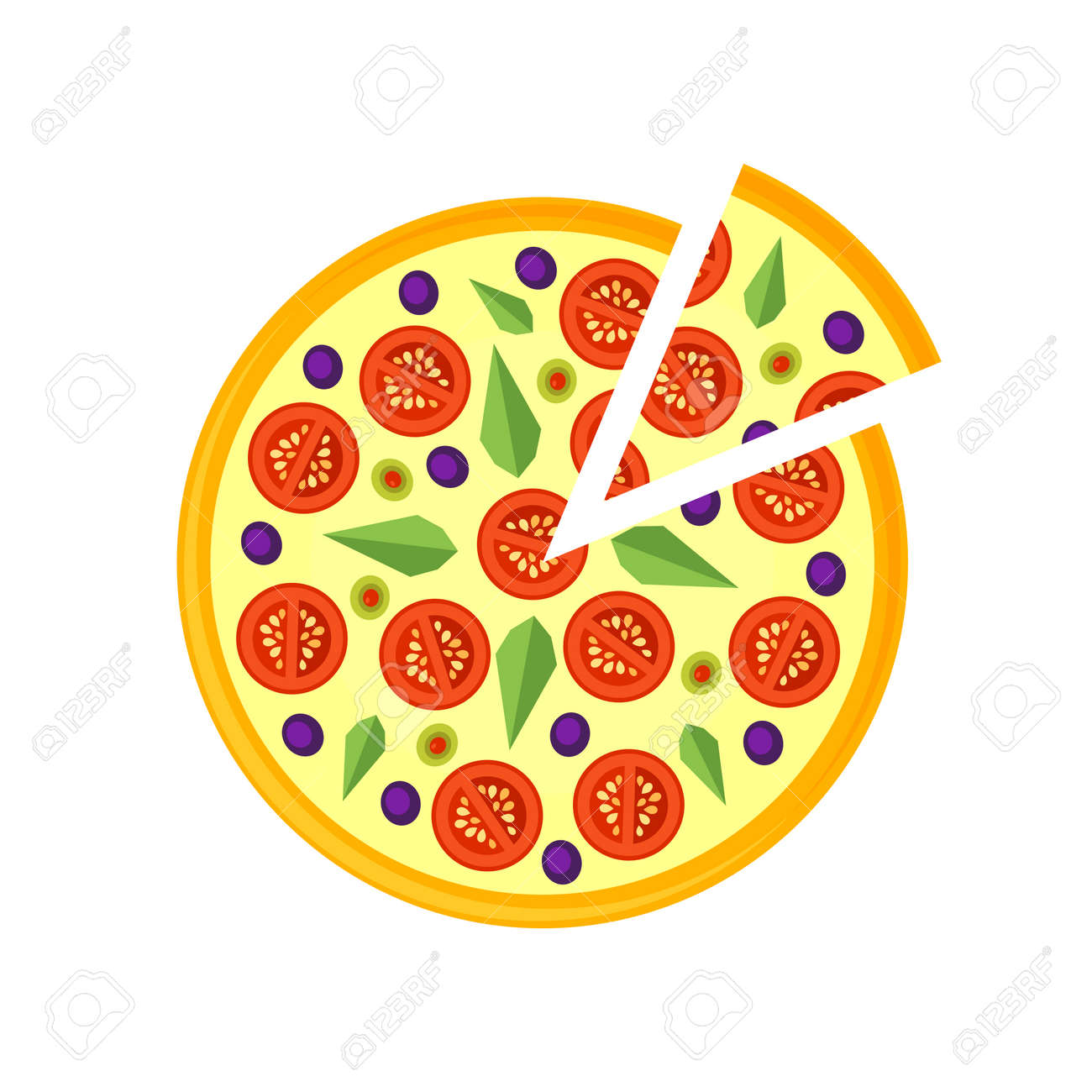 Pizza Icon Isolated On A White Background Slice In Flat