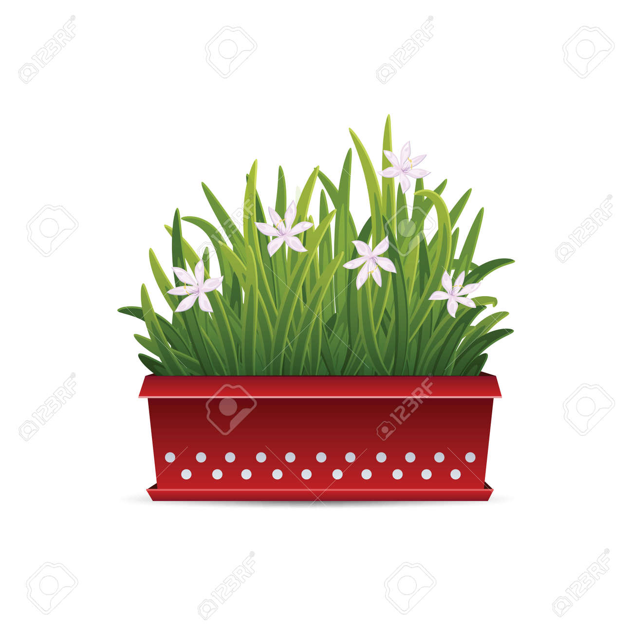 Icon Long Container With Flowers Isolated On White Background