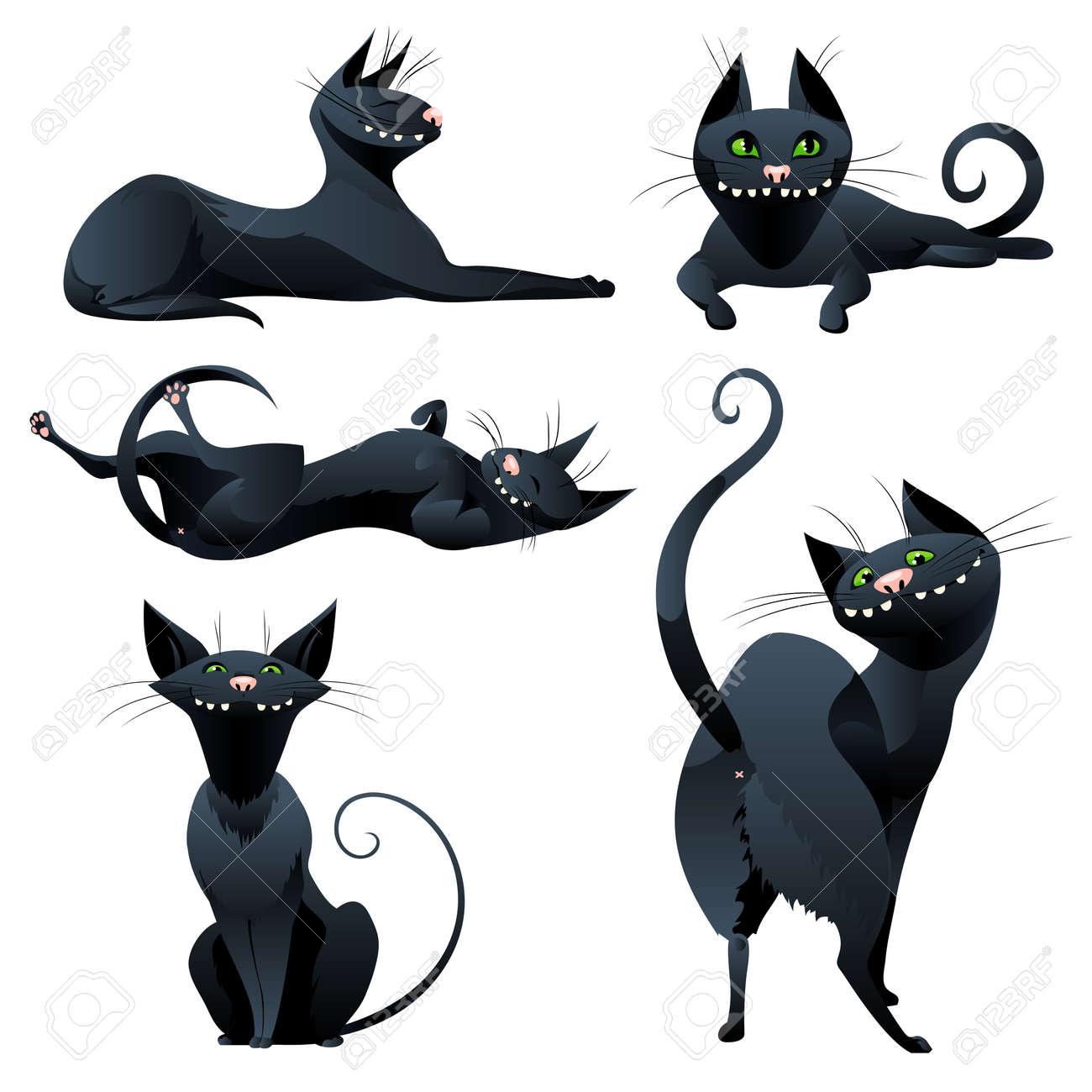 Banque d\u0027images , Chats noirs mignons dans un style de bande dessinée. Jeu  de chats drôles isolé sur fond blanc. Vector illustration.
