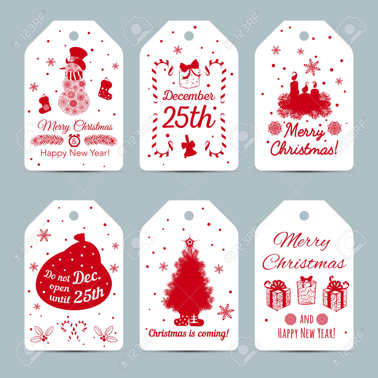 set of new year labels christmas labels with silhouettes snowman candles snowflakes