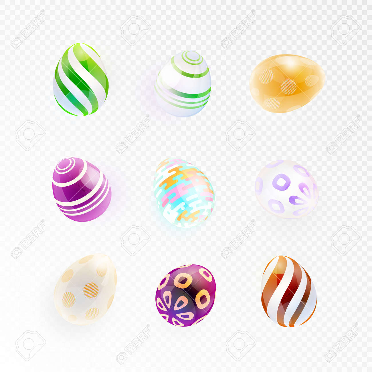 Set Of Glass Eggs With Abstract Pattern Isolated On A Transparent Background Shiny Colorful Easter