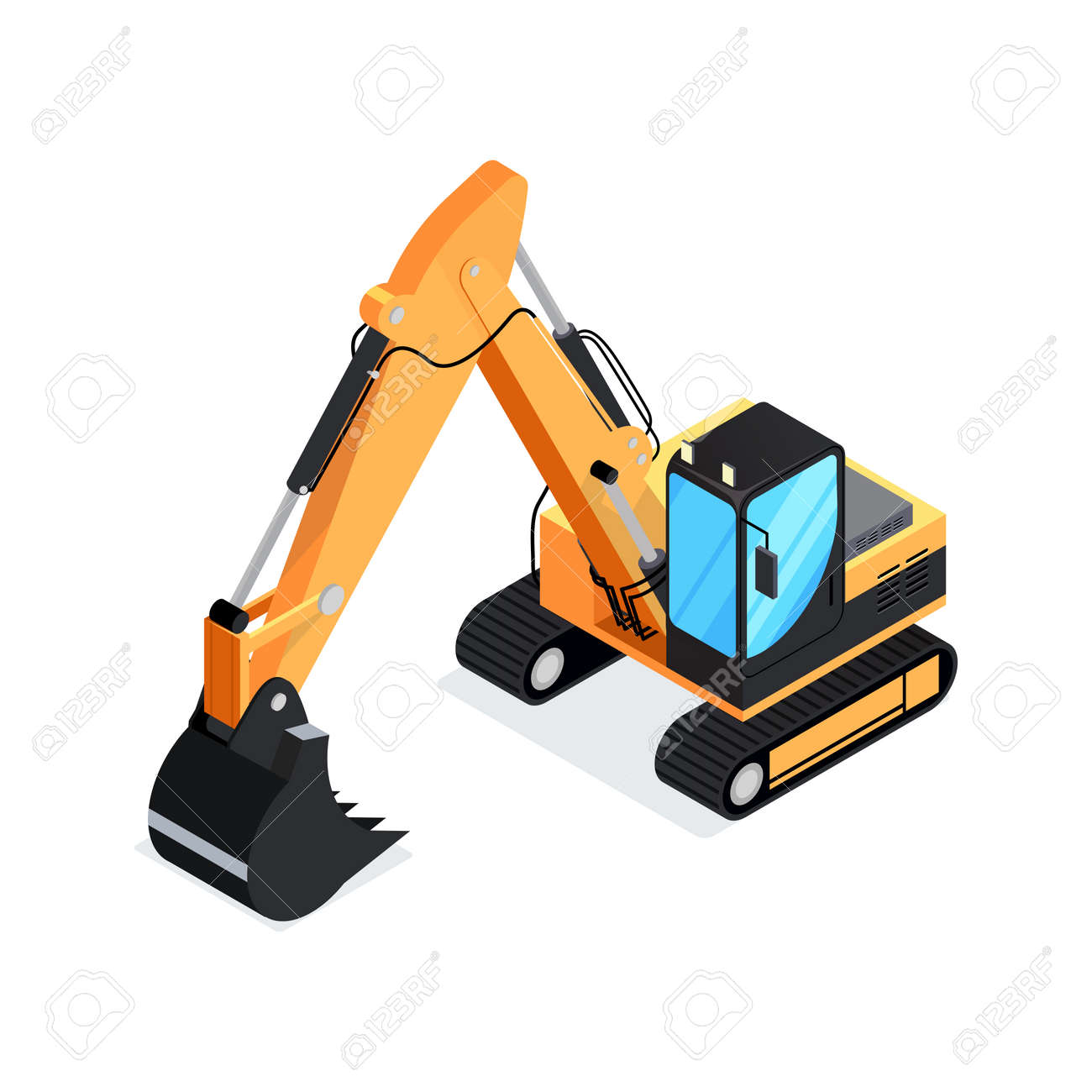 Isometric Excavator Isolated On White Background 3d Icon Construction Digger Special Machinery