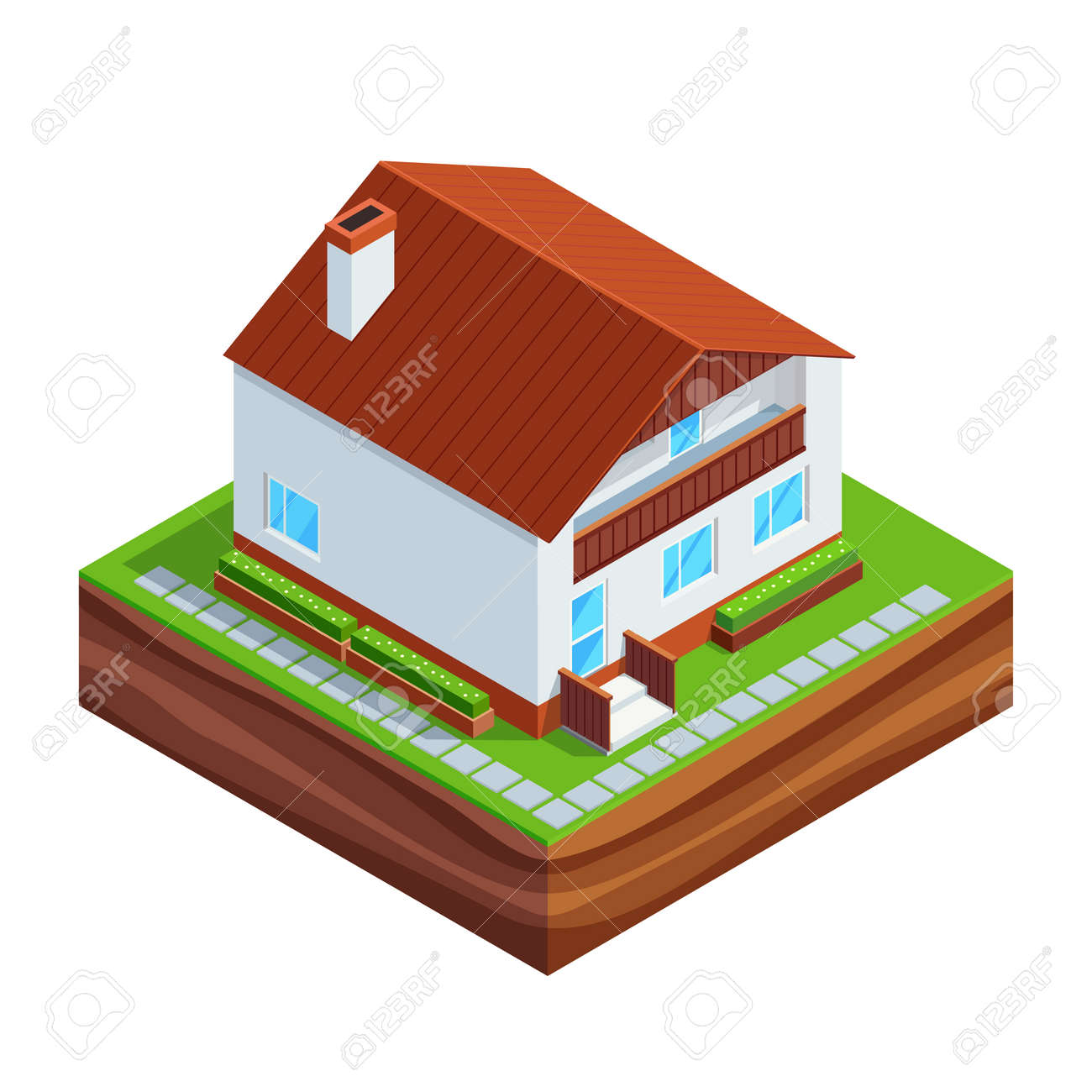 Captivating Isometric Concept Of Building A House. 3d House Full Construction Isolated  On White Background.
