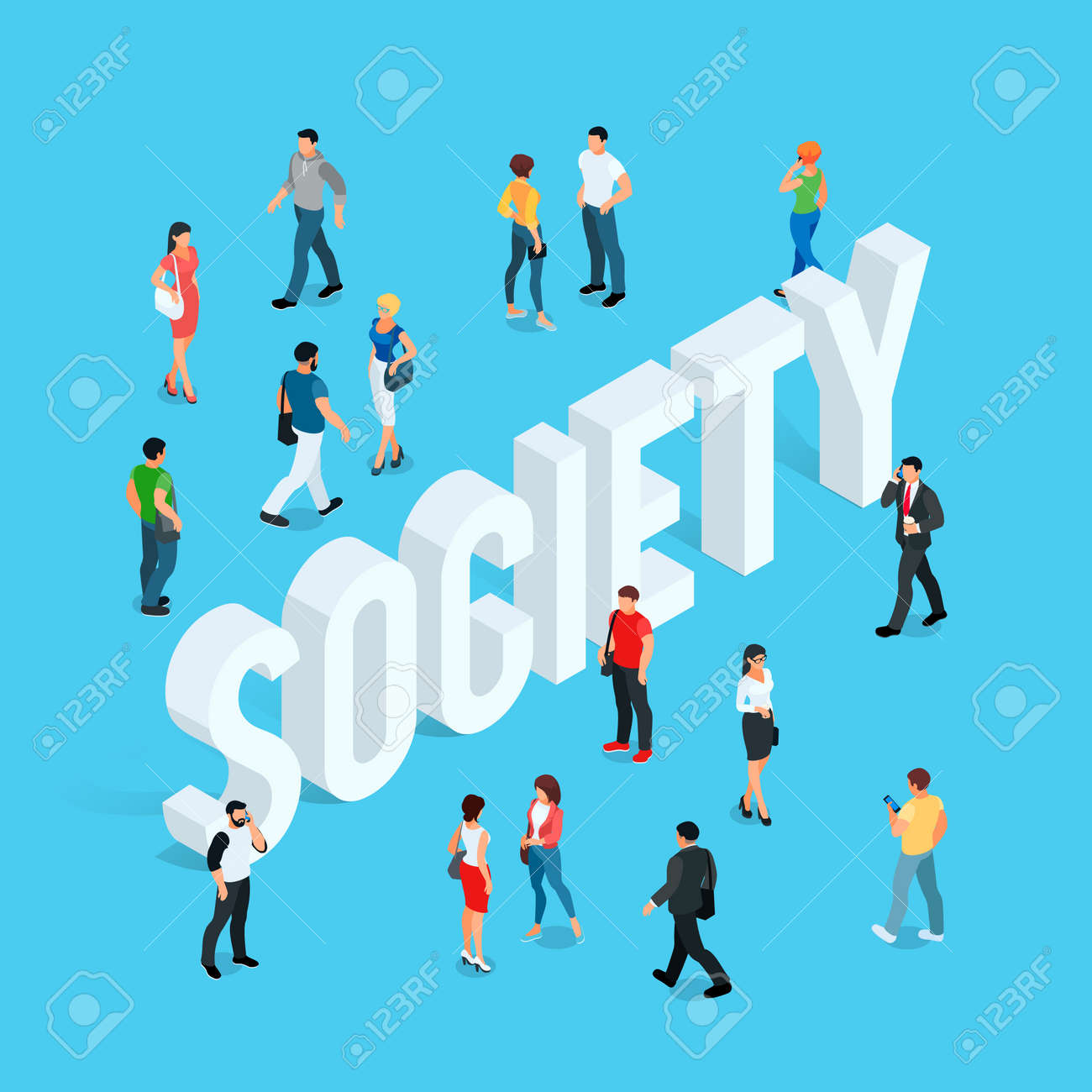 Society concept with people in different poses Stock Vector - 87732648