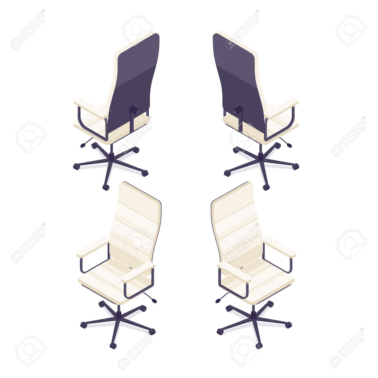 Isometric Computer Chair Isolated On White Background 3d Armchair