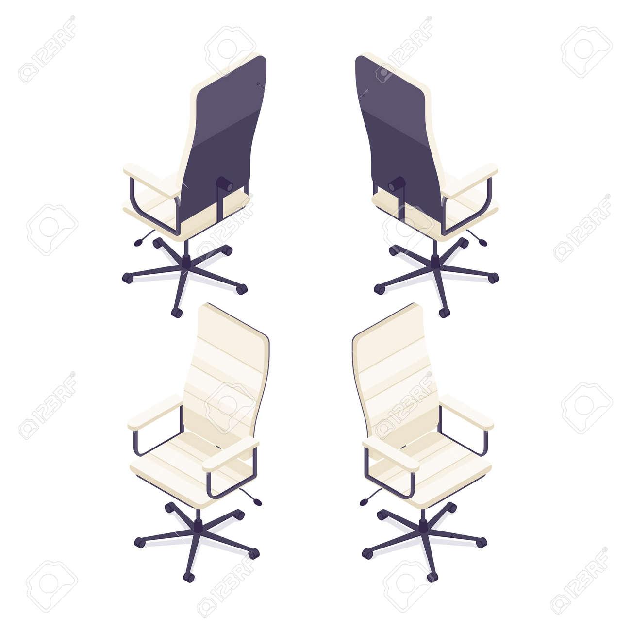 Isometrischer Computerstuhl Lokalisiert Auf Weißem Hintergrund ...