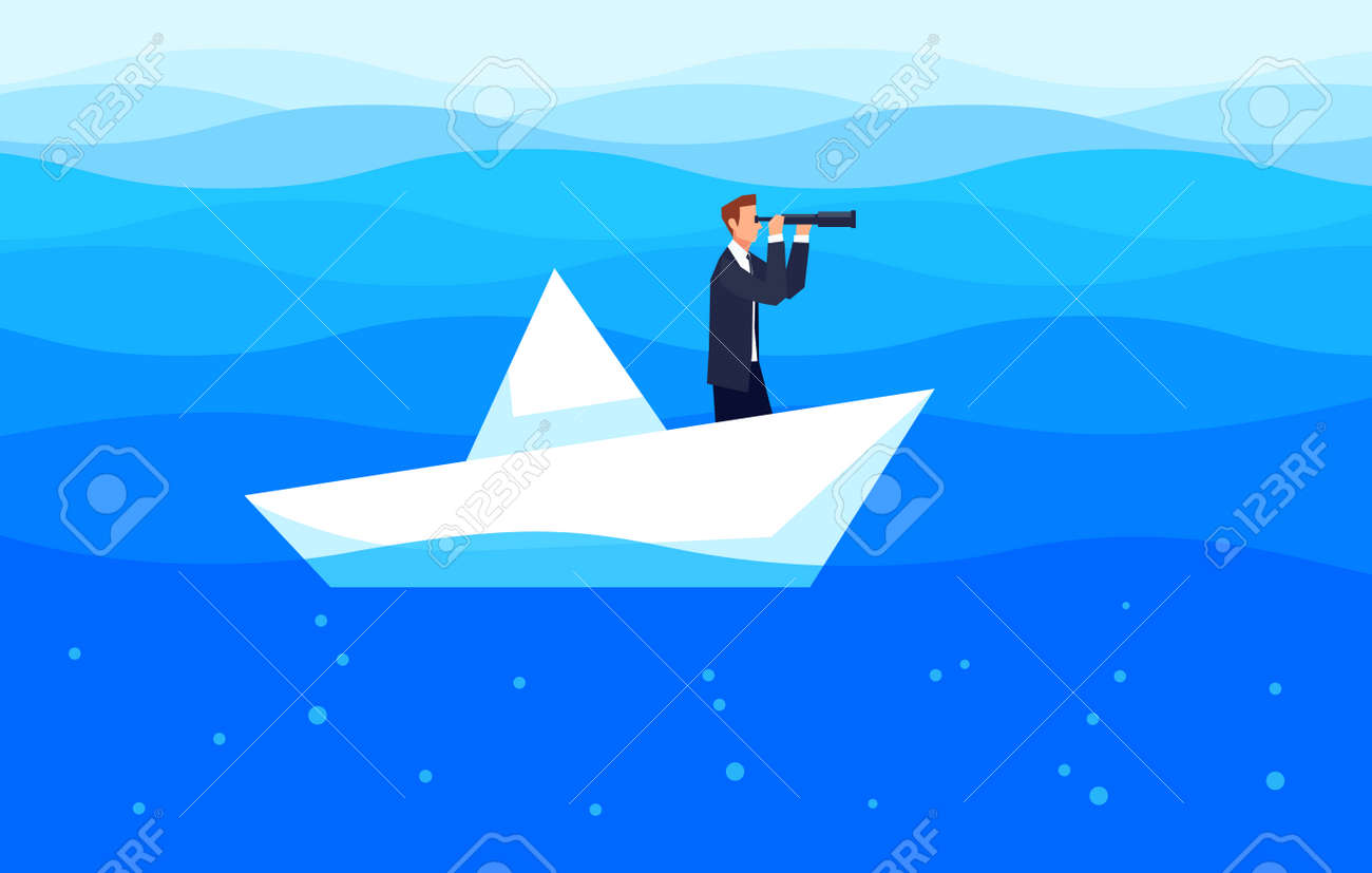 Investor Businessman With A Telescope Floating In The Sea On Paper Boat Template Design