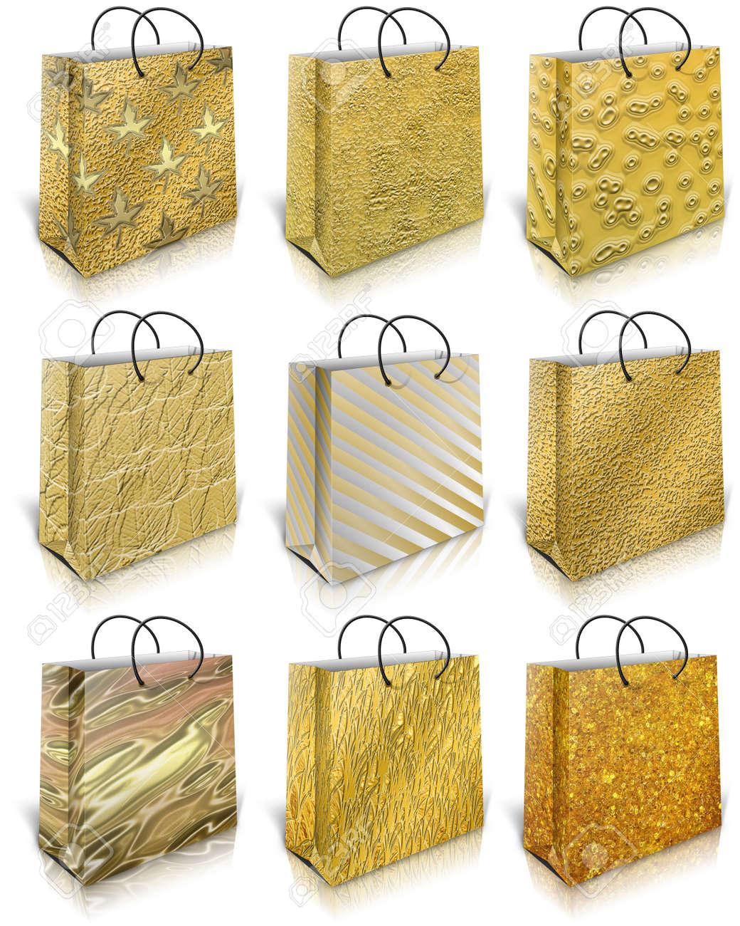 Nine gold gift bag isolated on white background Stock Photo - 11721330  sc 1 st  123RF.com & Nine Gold Gift Bag Isolated On White Background Stock Photo Picture ...