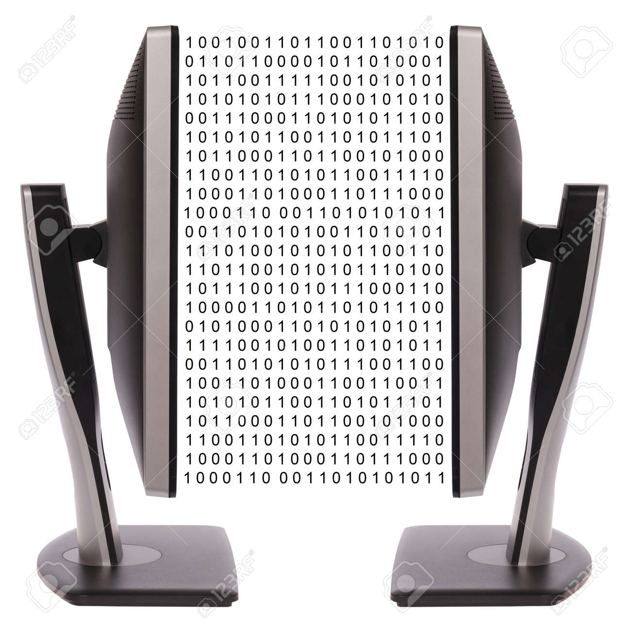 Two computer monitor on white background. Digital data exchange Stock Photo - 13261056