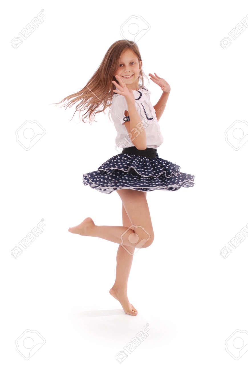 244090c7c472 Happy Young Girl Dancing Isolated On White Background Stock Photo ...
