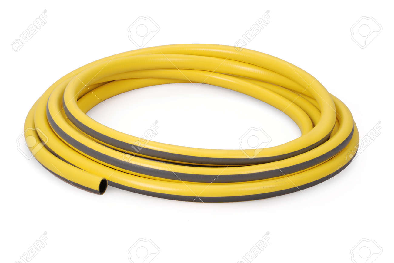 Stock Photo   Yellow Garden Water Hose Rolled Up In A Tangle Isolated On  White