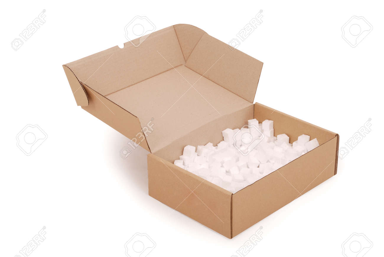 Packing box with pieces of foam, isolated on a white background