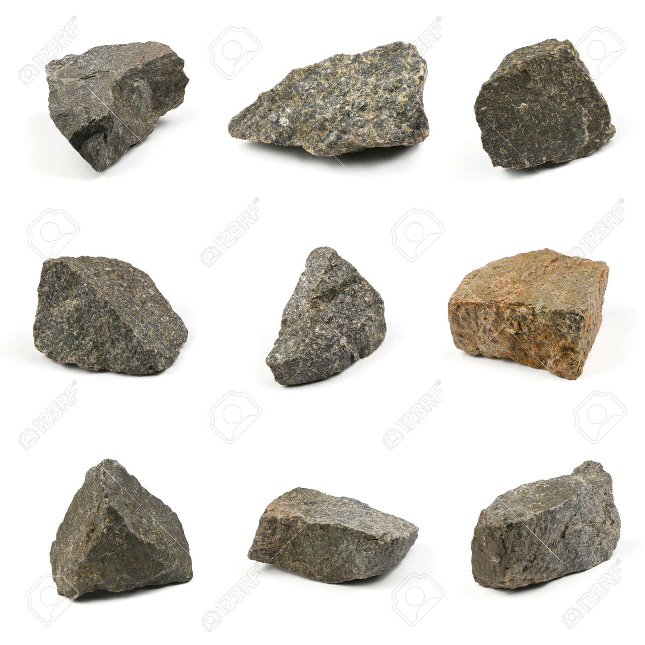 Nine Grungy granite stone, marble rock isolated on white background. High resolution photo. Full depth of field. - 133541547