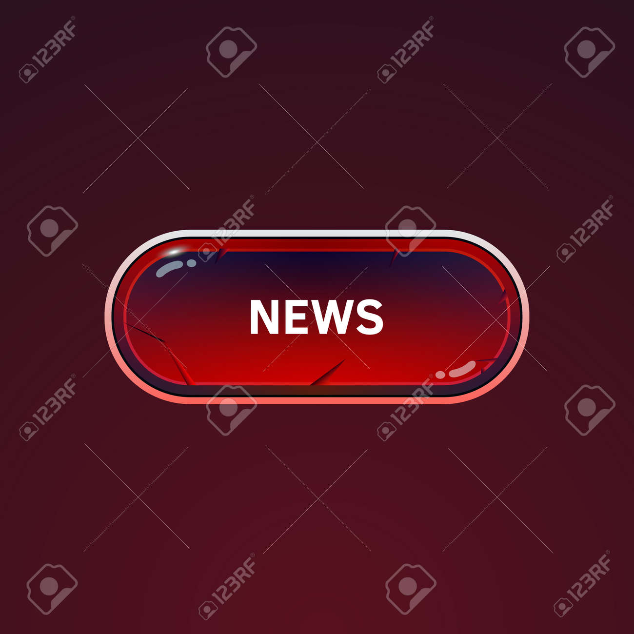 Button for news on a dark background  Texture of cracked stone