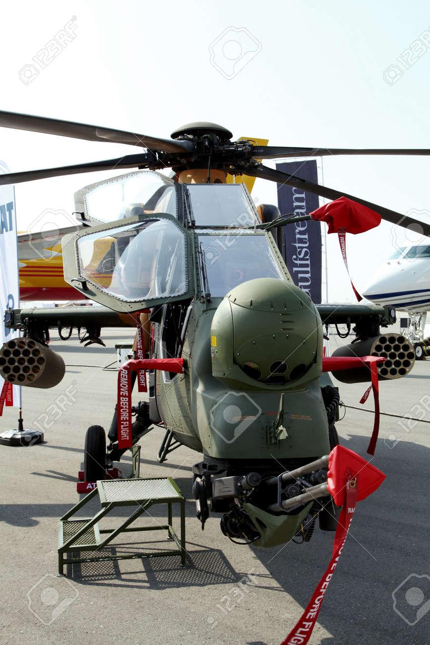 Elicottero T 129 : Sakhir airbase bahrain january 16: static display of atak.. stock
