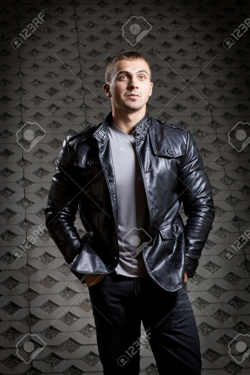Leather jacket young man