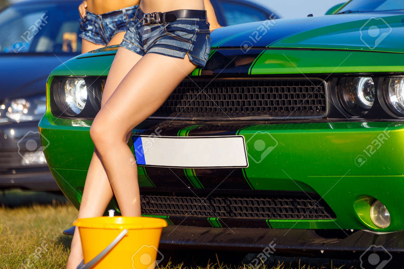 Girls Posing On Sport Car After Erotic Car Wash Stock Photo Picture