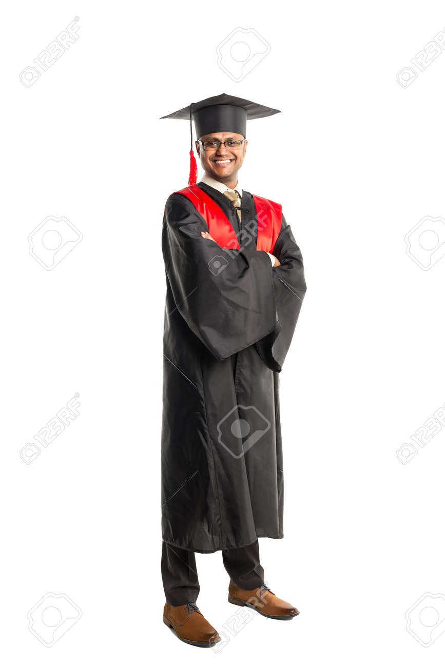 Male African American Graduate In Gown And Cap Isolated Over.. Stock ...