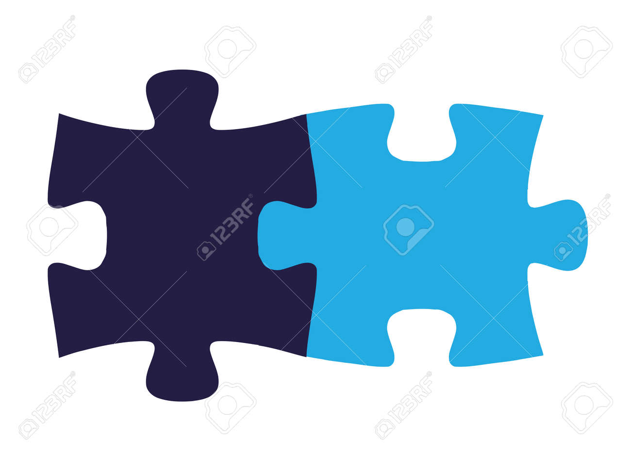 Isolated Puzzle Pieces Fit Together On All Sides Seamlessly Stock Vector