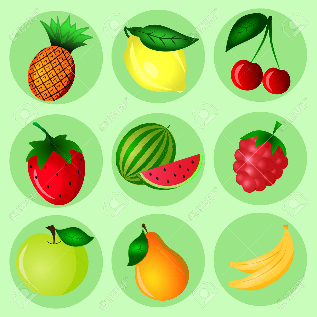 Hand Drawn Color Fruit Set Set Of Various Colorful Hand Draw