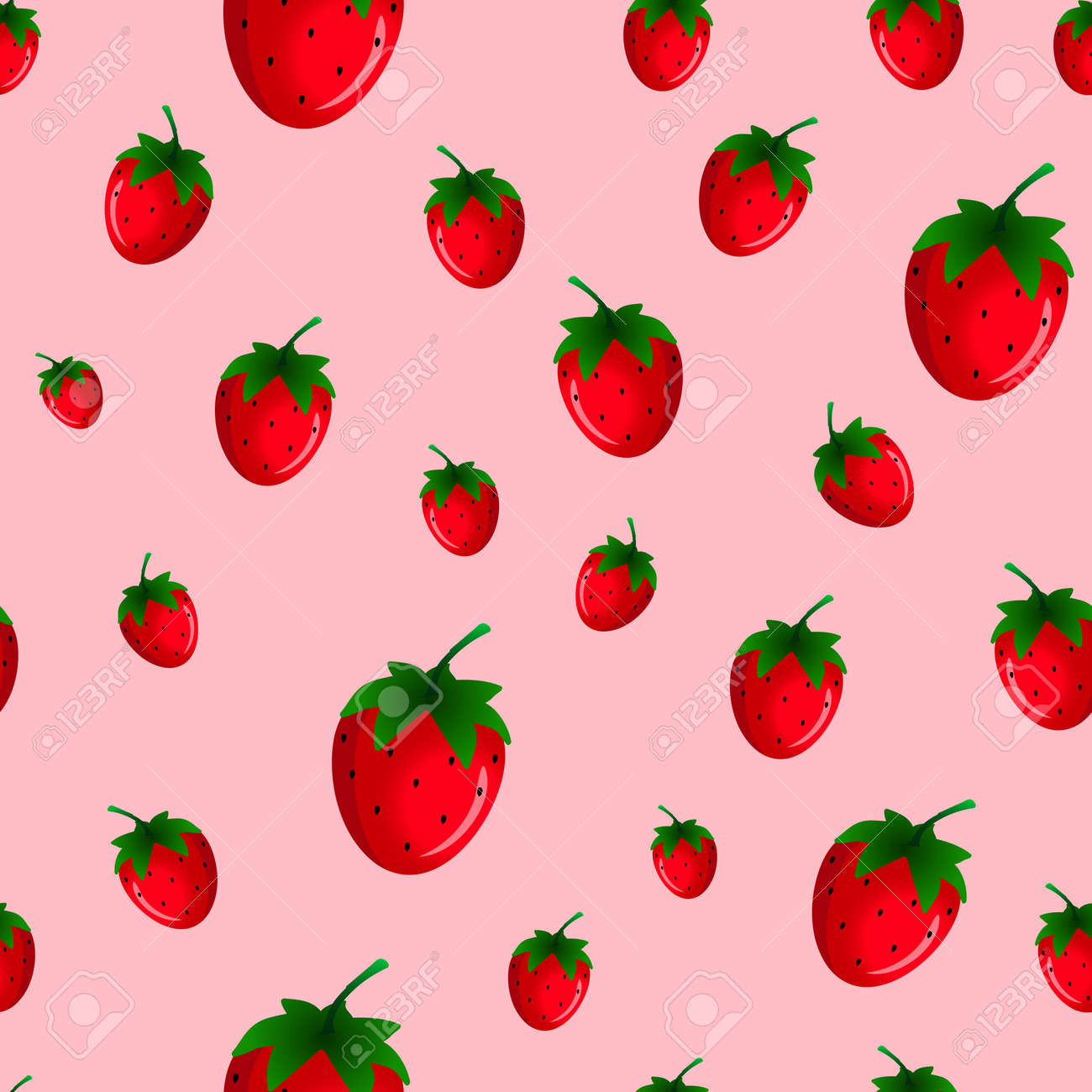 Strawberry Seamless Pattern Good For Wallpaper Wrapping Papers