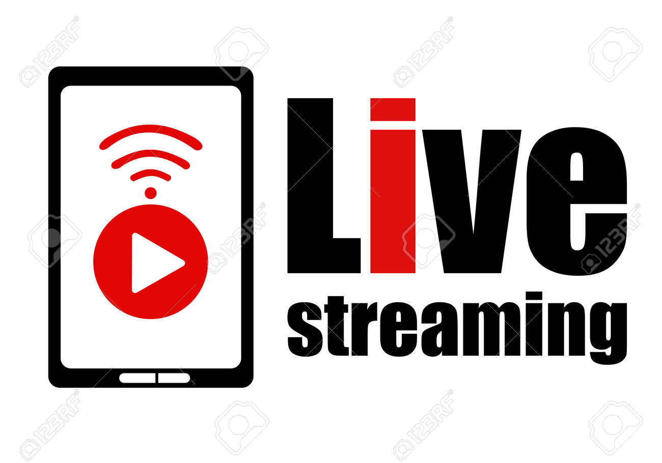 Live streaming logo design element with play button wifi sign