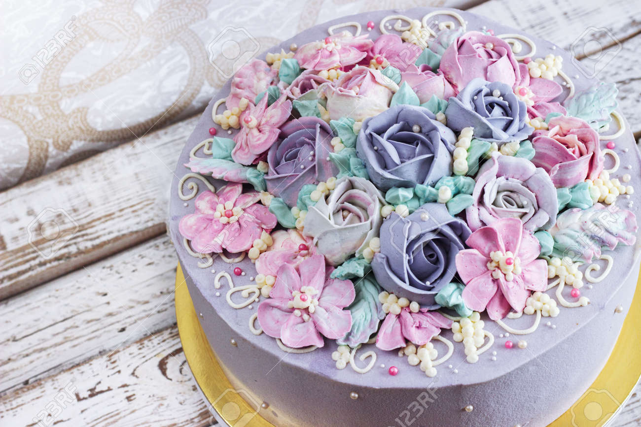 Birthday cake with flowers rose on white background stock photo birthday cake with flowers rose on white background stock photo 75195998 izmirmasajfo