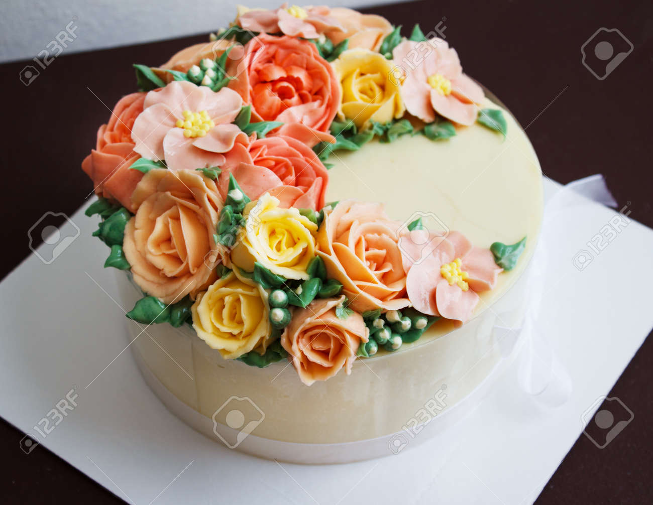 Birthday cake with flowers rose on white background stock photo birthday cake with flowers rose on white background stock photo 80838533 izmirmasajfo