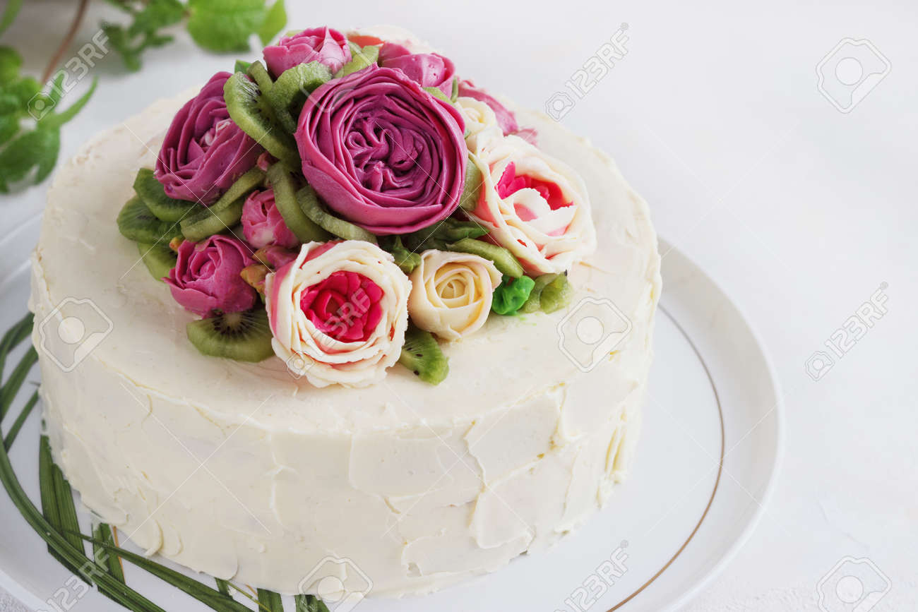 Wondrous Birthday Cake With Flowers Rose On White Background Stock Photo Funny Birthday Cards Online Alyptdamsfinfo