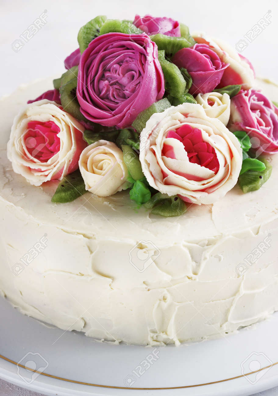 Birthday Cake With Flowers Rose On White Background Stock Photo