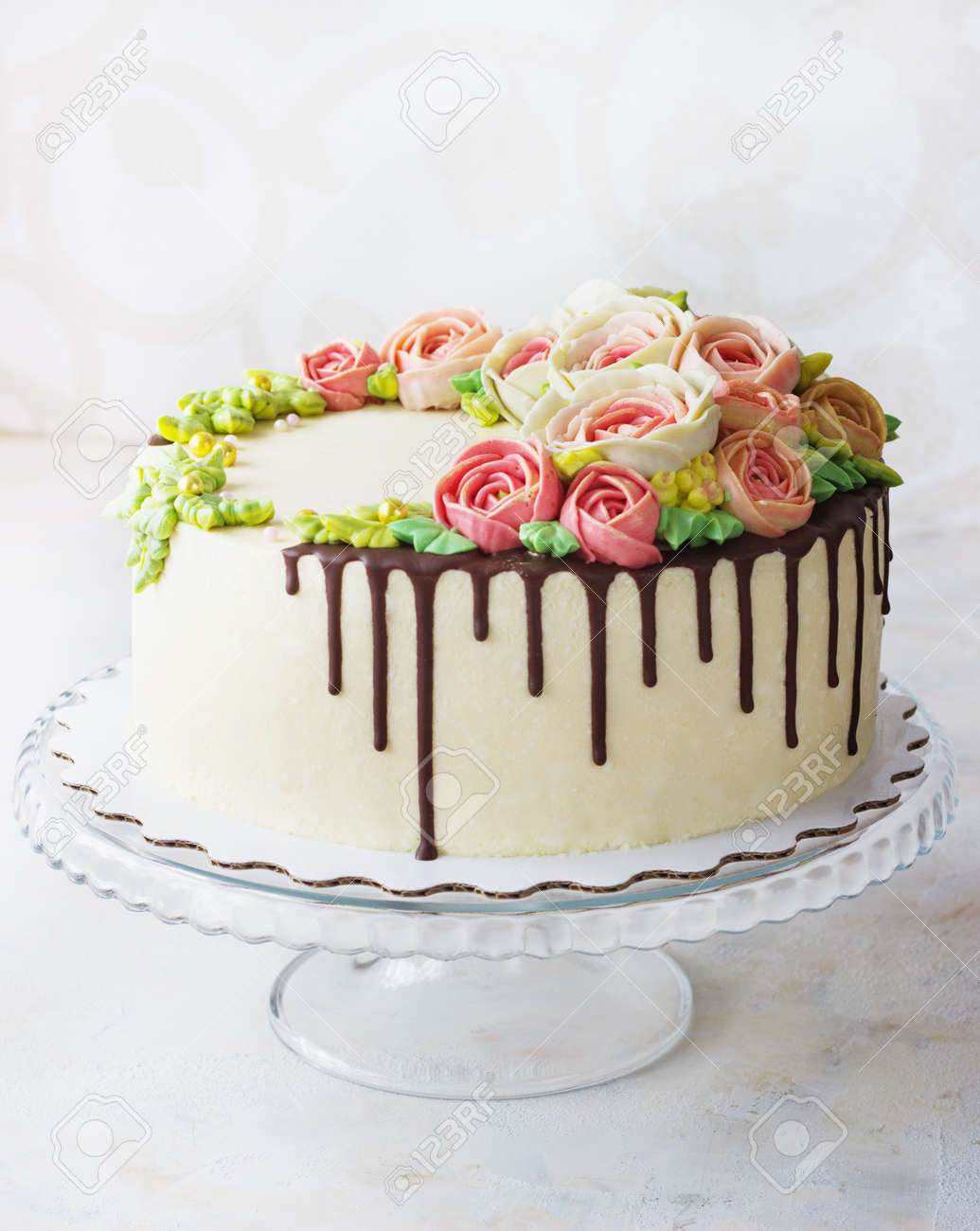 Tremendous Birthday Cake With Flowers Rose On White Background Stock Photo Personalised Birthday Cards Cominlily Jamesorg