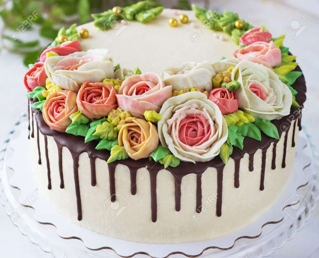 Superb Birthday Cake With Flowers Rose On White Background Stock Photo Personalised Birthday Cards Cominlily Jamesorg