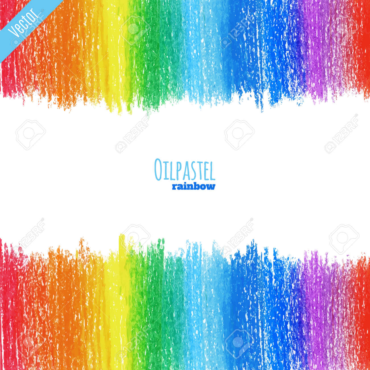 hand drawn colorful oil pastel rainbow background crayon background