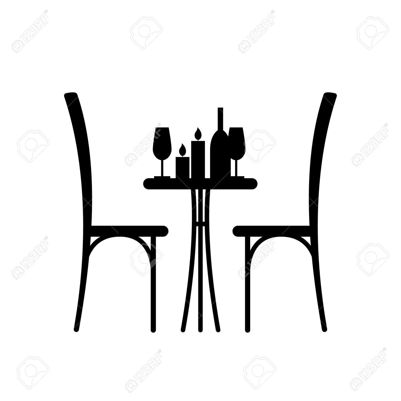 Wine And Candles On The Table And Chair Silhouette Silhouette