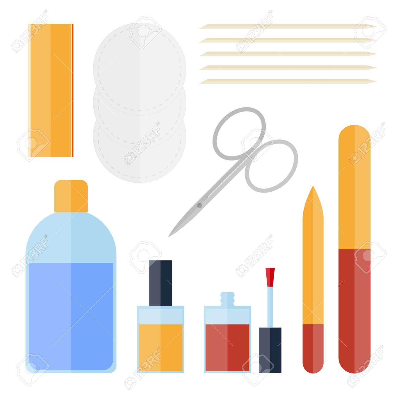 Flat Set Of Manicure Equipment Nail Clippers Polish Remover Orange Sticks