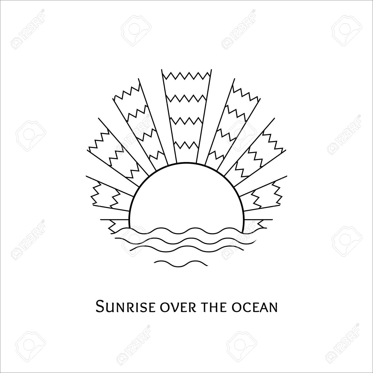 Kleurplaten Zonsondergang.Vector Zwart Wit Lijn Kunst Illustratie Van De Zonsopgang Boven De