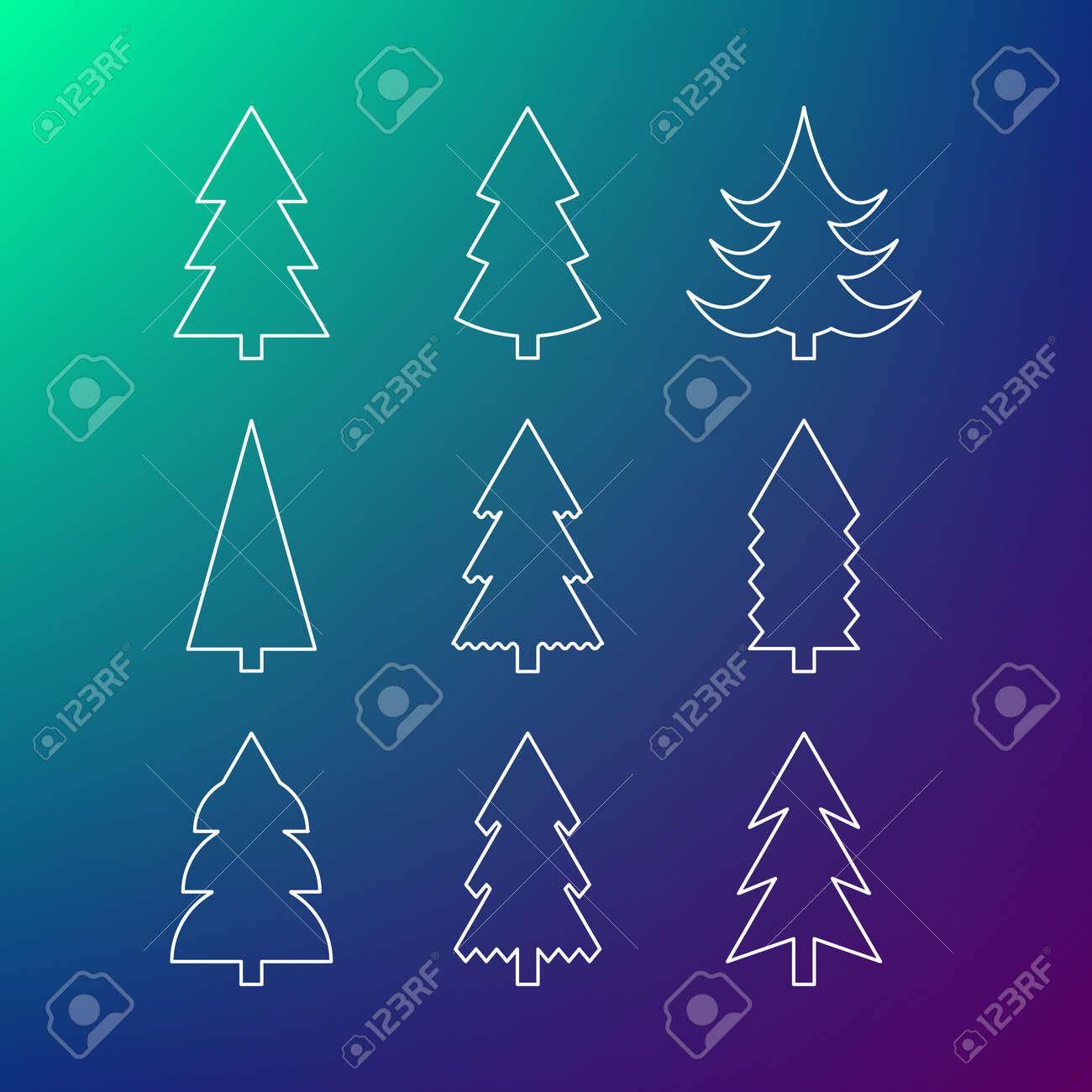 Thin line icon set of Christmas trees. Winter trees icon. 9 different Christmas trees thin line icons. - 50426819