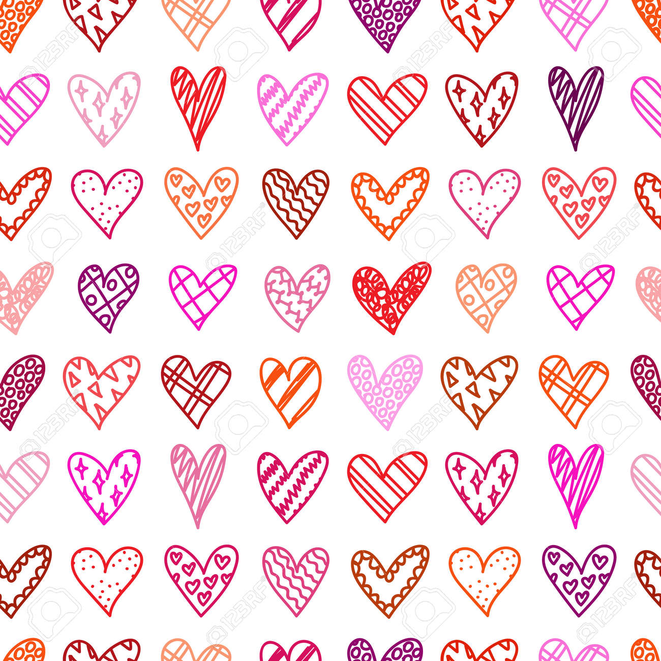 Hand Drawn Seamless Pattern With Doodle Hearts Valentines Day