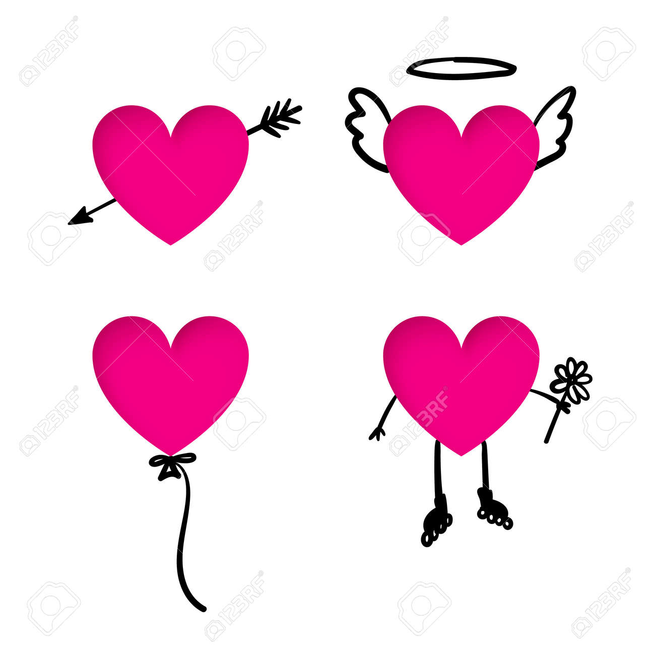 Valentine S Day Heart Stickers With Doodle Details Heart Cut Royalty Free Cliparts Vectors And Stock Illustration Image 51624661