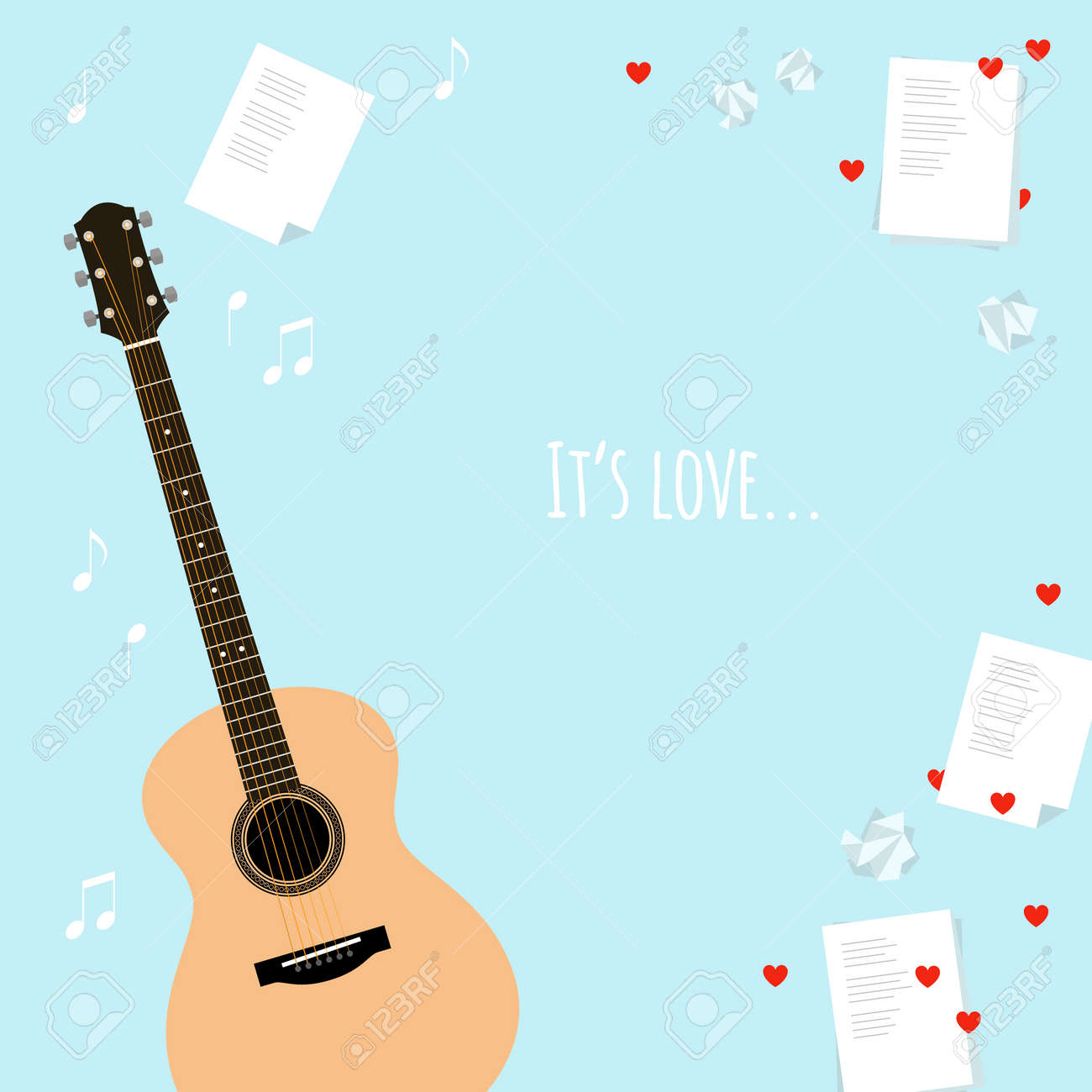 Vector Valentines Day Template Cards With Serenade Flat Style – Valentine Musical Cards