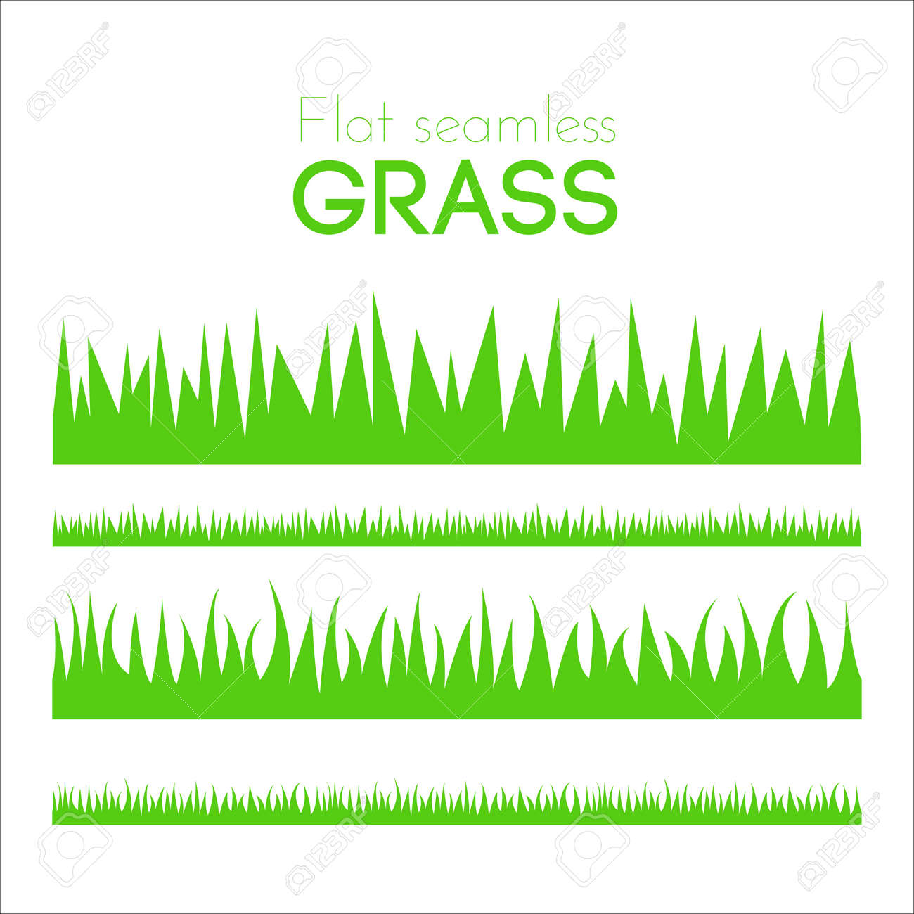 Vector flat grass set isolated on white background. Horizontal row of grass in cartoon style. Detailed illustration of herbs. Green grass pattern for illustration and game design. Abstract grass. - 53601263