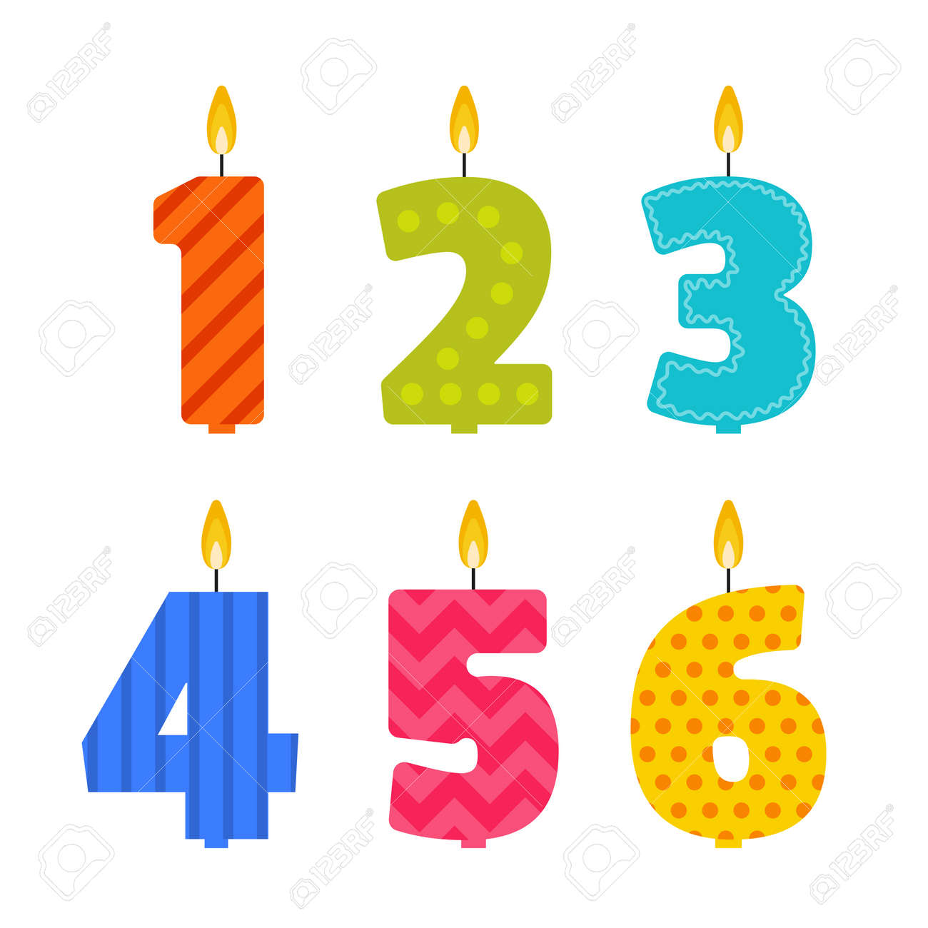 Flat Design Birthday Candle Set In The Shape Of Numbers 1 2 3