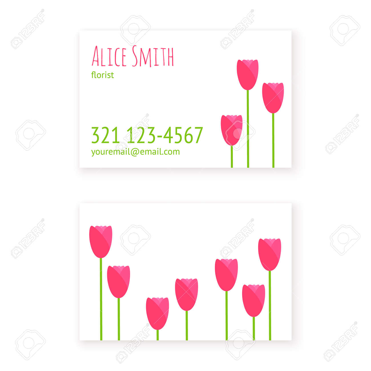 Flat Design Template Business Cards Florist Or Flower Shop, Beauty ...