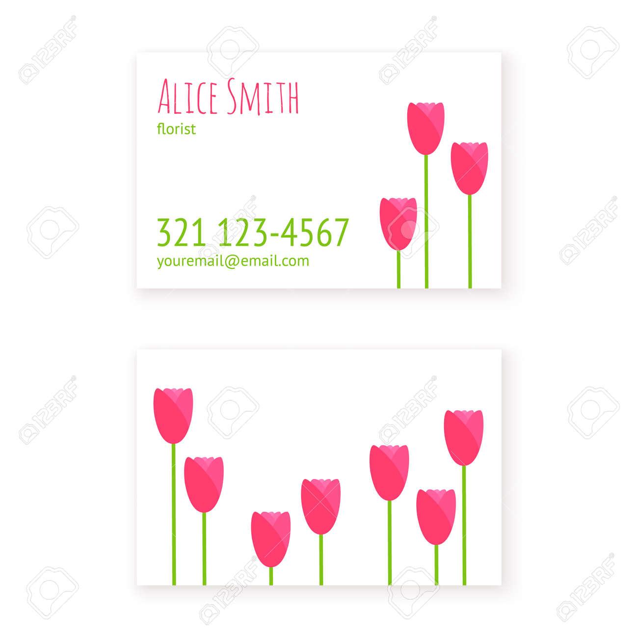 Plat Modele De Conception Cartes Visite Fleuriste Ou Magasin Fleurs Salon Beaute Spa Avec Des Tulipes Simples La Mise En Page
