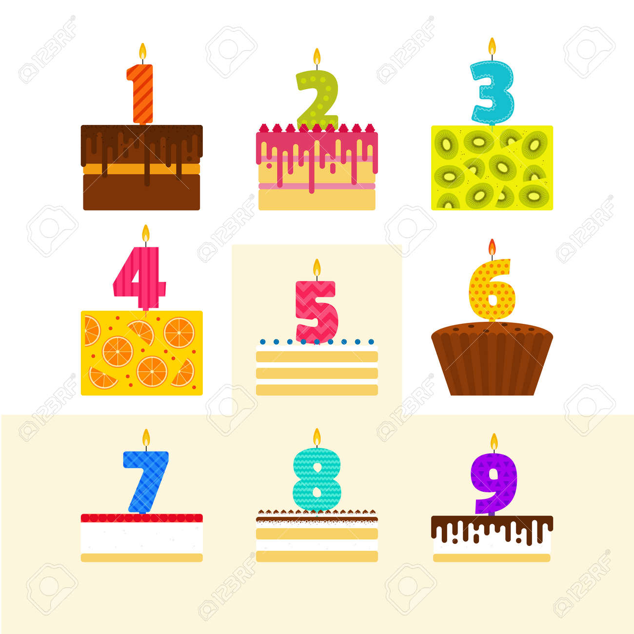 Vector Illustrations Set Of Birthday Cakes With Candles In The