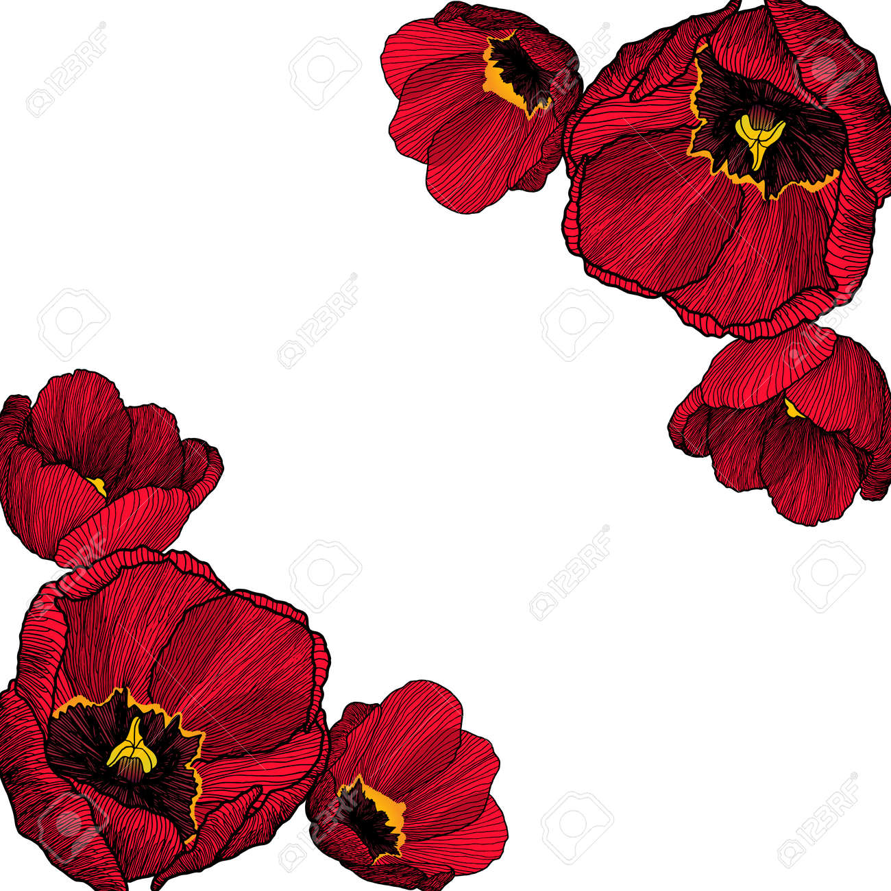 Vector frame corners with hand drawn ink graphic red tulip flowers banco de imagens vector frame corners with hand drawn ink graphic red tulip flowers in a linear style with blank place for text vintage stopboris Choice Image