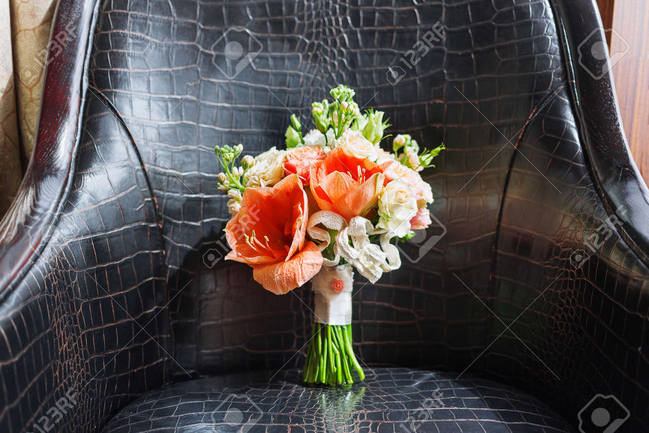 Wedding Bouquet On Leather Chair Brides Traditional Symbolic