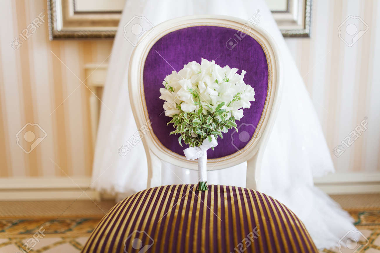 Wedding Bouquet On Chair Brides Traditional Symbolic Accessory