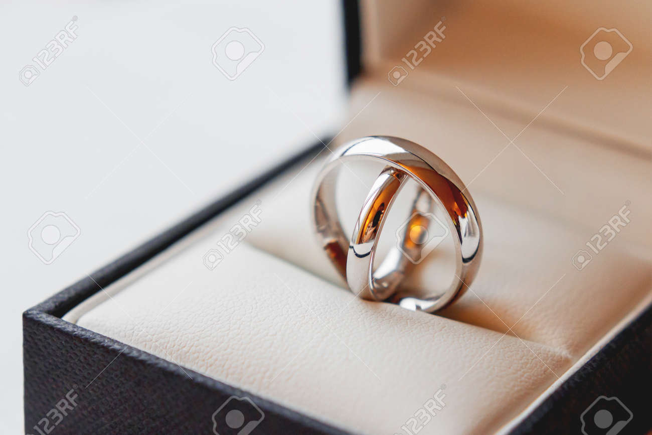 Pair Of Golden Wedding Rings In Decorative Gift Box Beautiful